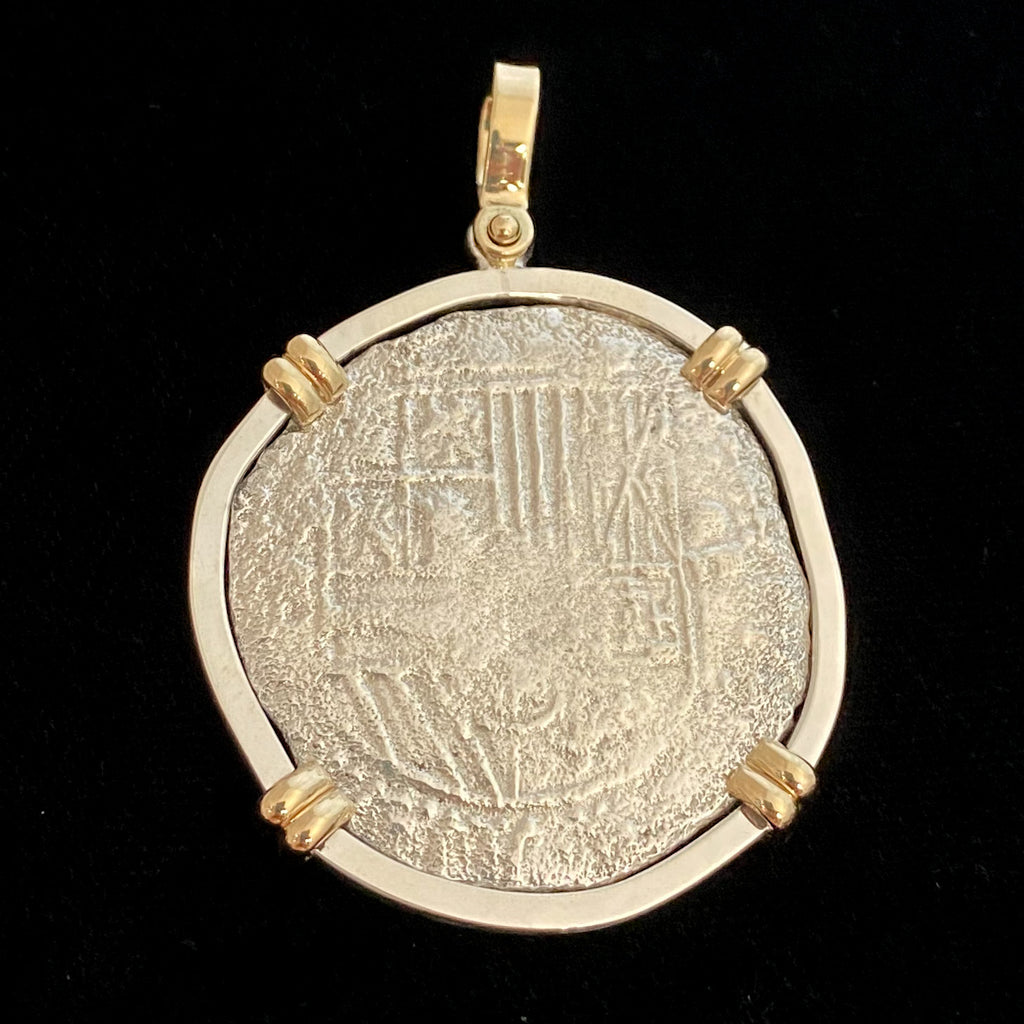 Authentic Atocha Silver Coin, Grade 2 , 8 Reales Mounted in SS/14K mount