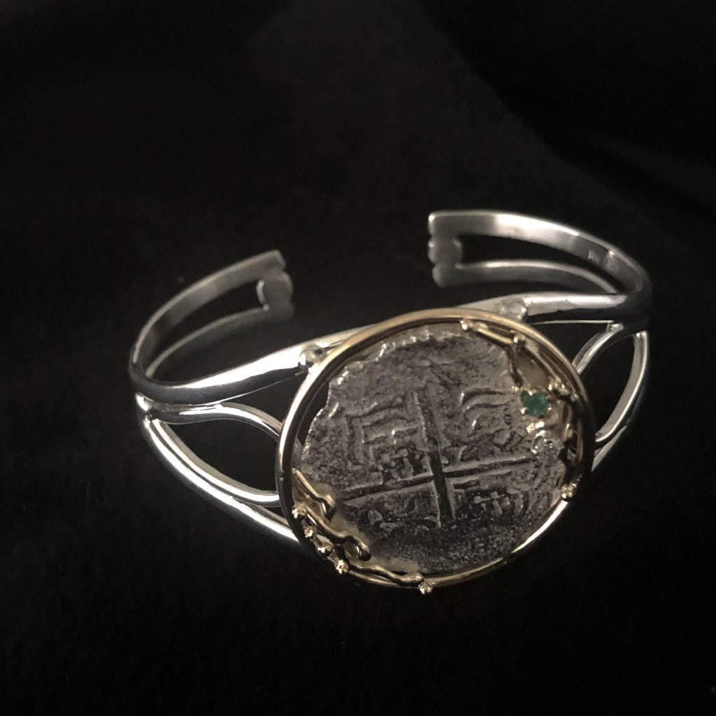 Authentic  Atocha  Silver Coin, Grade 3, 4 Reales Mounted in 14K Bracelet with E 0.05CT , D 0.05CT