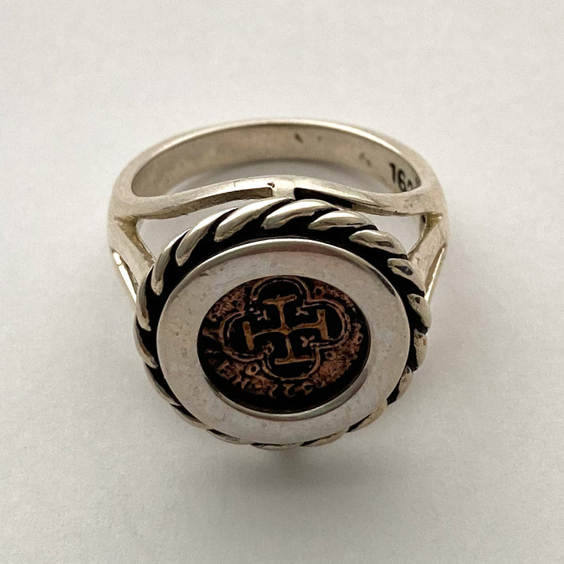 Re-Creation Half Reale Coin Ring, Copper and Silver