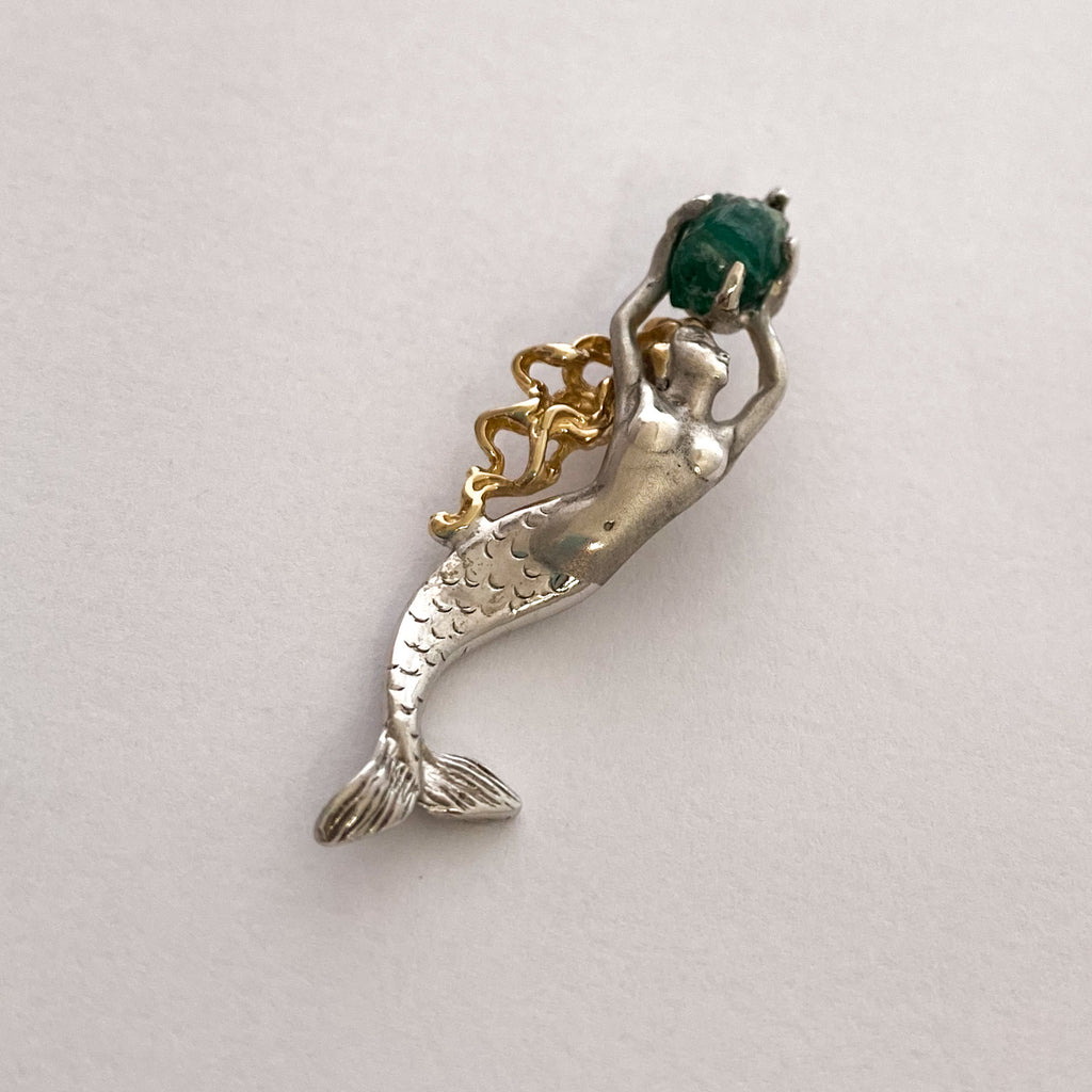 Authentic non-shipwreck Emerald, 1.40 CT, Mounted in SS/14K Gold,  Mermaid Pendant