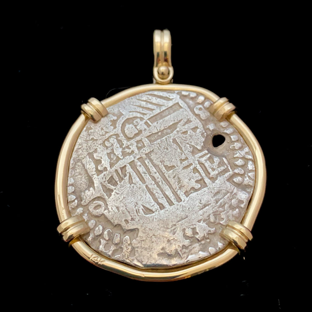 Rare Authentic Atocha 4 Reales, Grade 1 in 14k gold mount