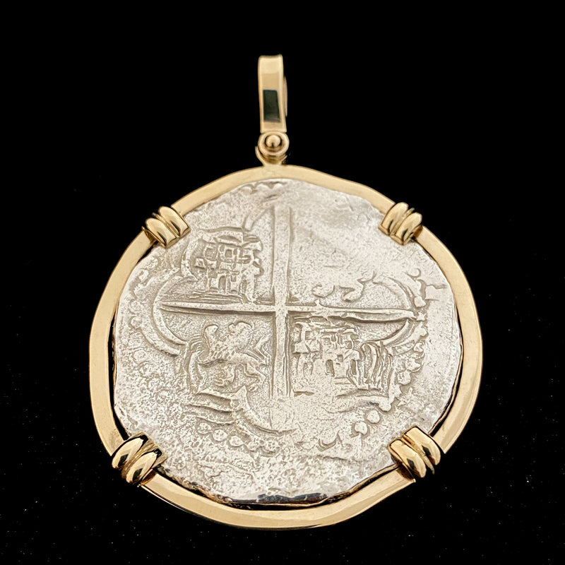 NEW ARRIVAL! Authentic Atocha Silver Coin, Grade 1, 8 Reales mounted in 14K Bezel