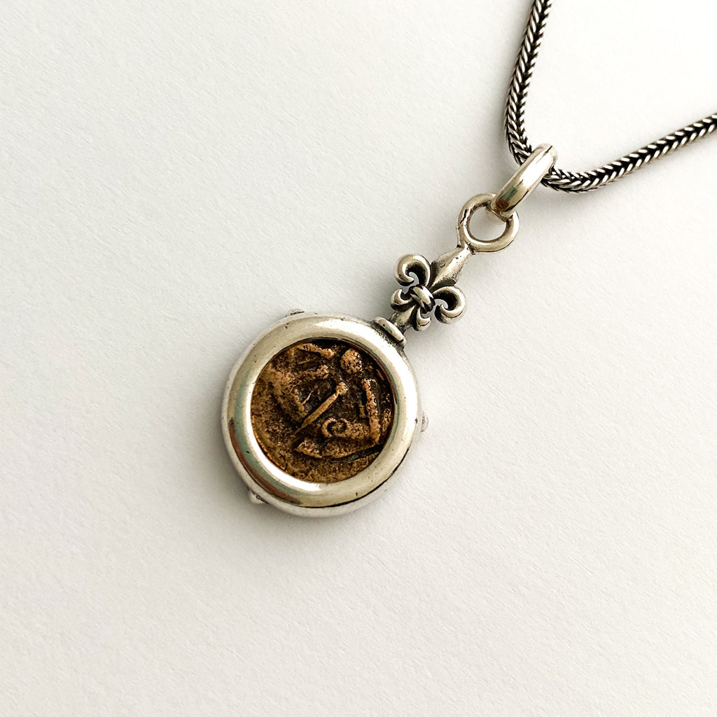 "Widow's Mite Sterling Silver Pendant with adjustable 16""/18"" silver chain"