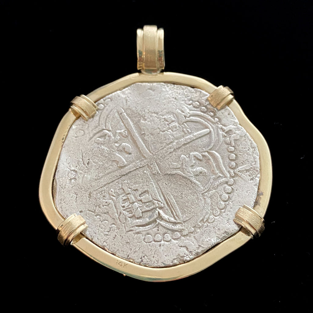Authentic  Atocha  Silver Coin, Grade 1 , 8 Reales Mounted in 14K