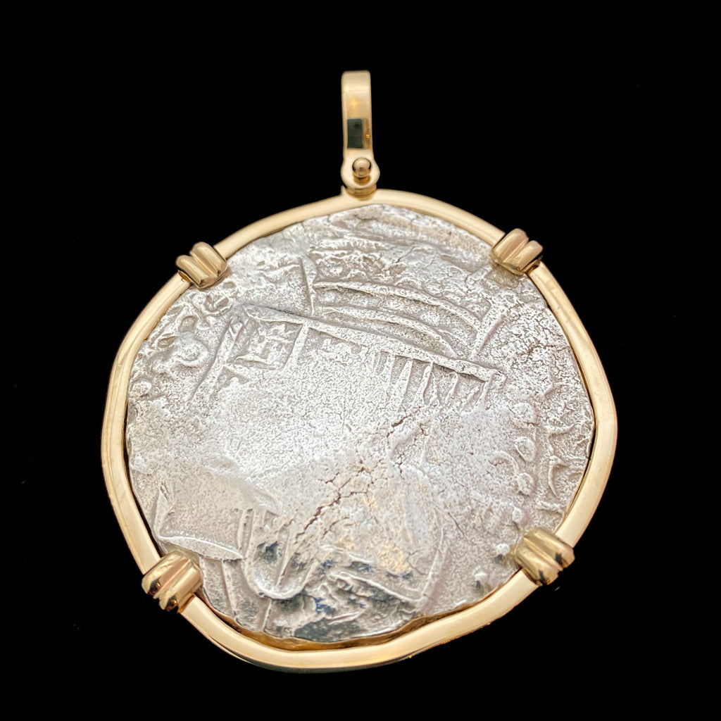 Authentic Atocha 8 Reales, Grade 1 in 14k gold mount