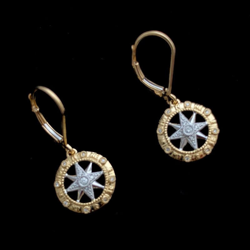 14K Gold Compass Rose Earrings with Diamonds