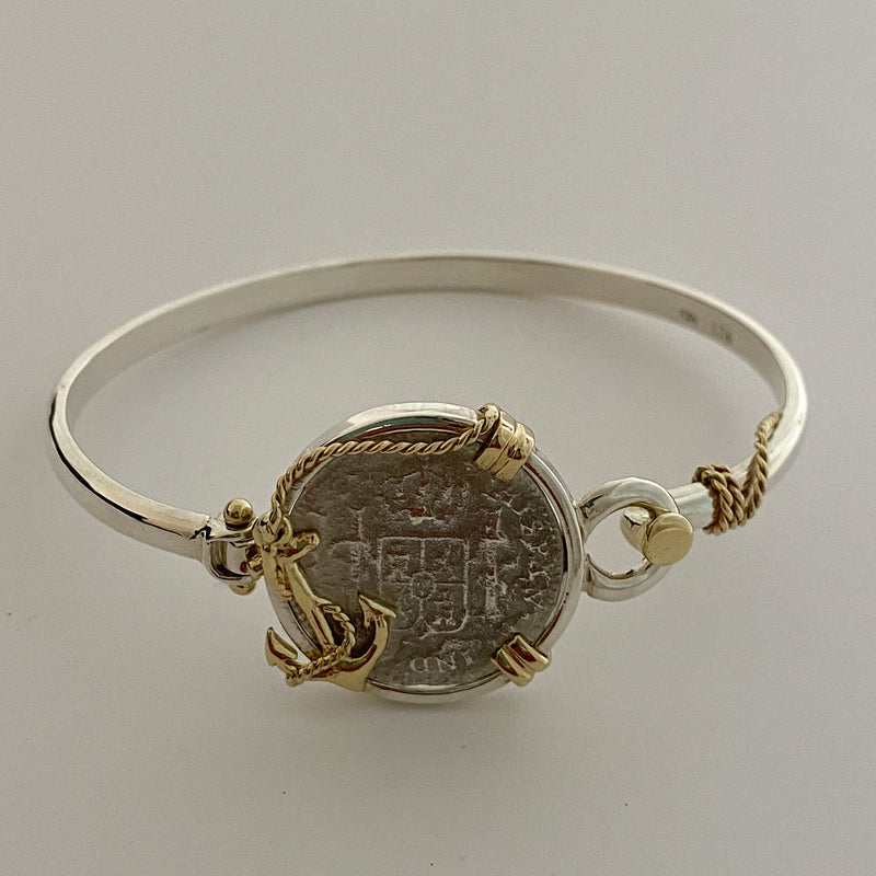 El Cazador 1 Reales, mounted in 14K Gold and Silver bracelet