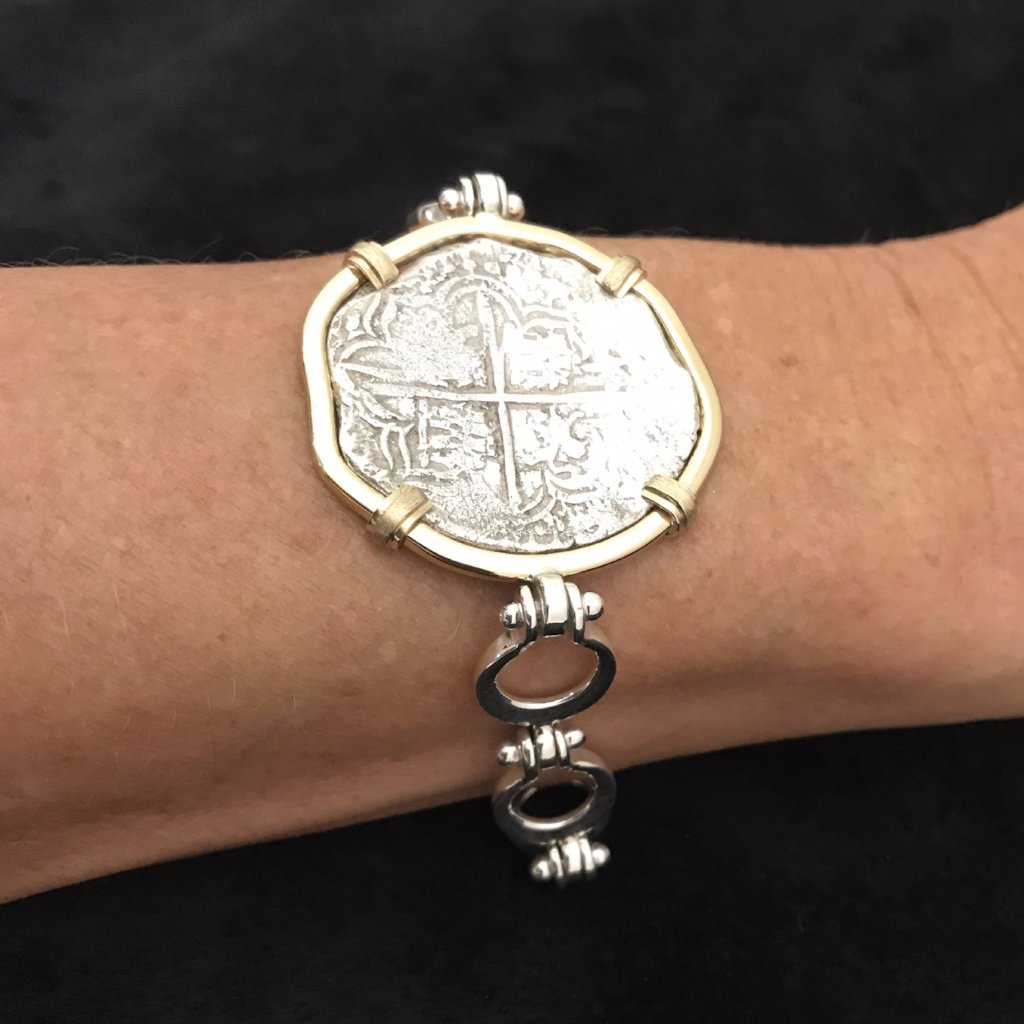 Authentic  Atocha  Silver Coin, Grade 1, 4 Reales, Mounted in 14K/SS , Bracelet by Designer Blue Sophia Key West