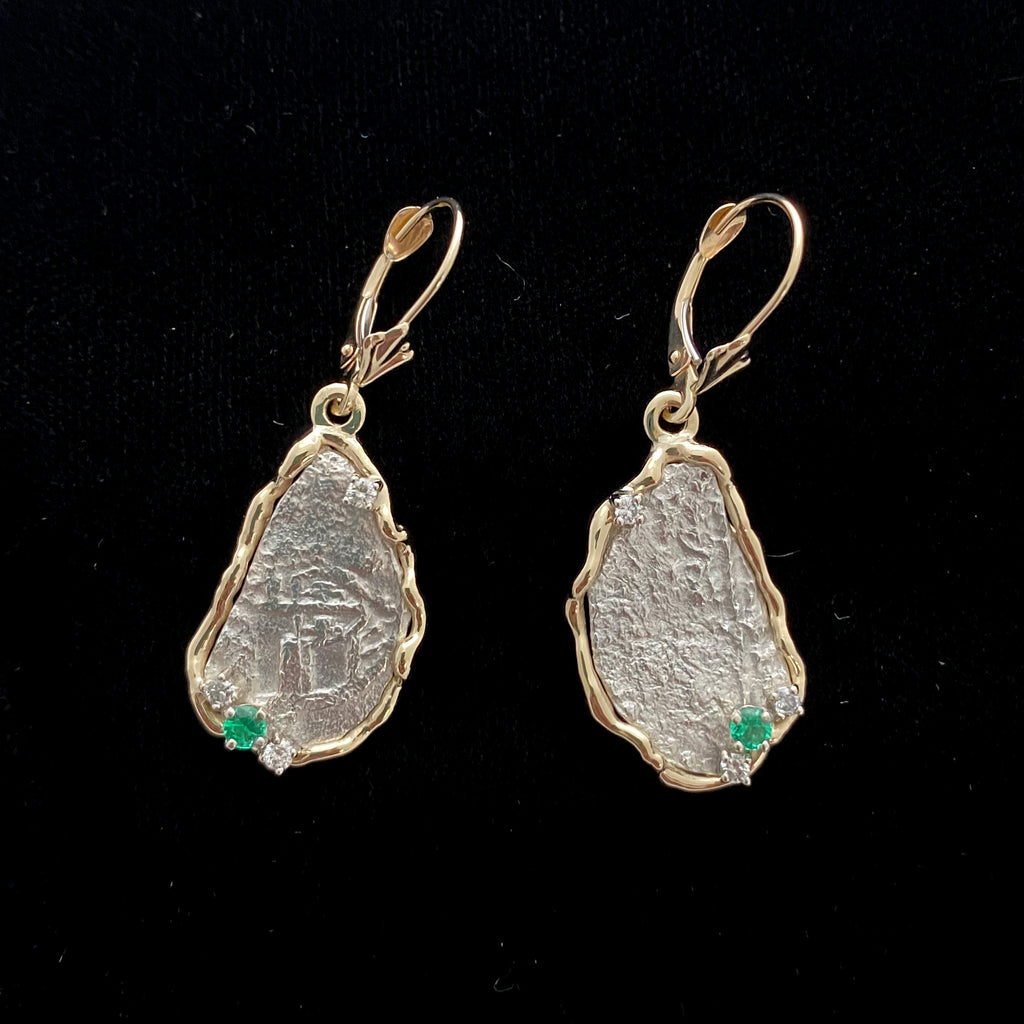 Authentic Atocha Silver Coins, Grade 5 , 2 Reales Mounted in 14K Gold Earrings