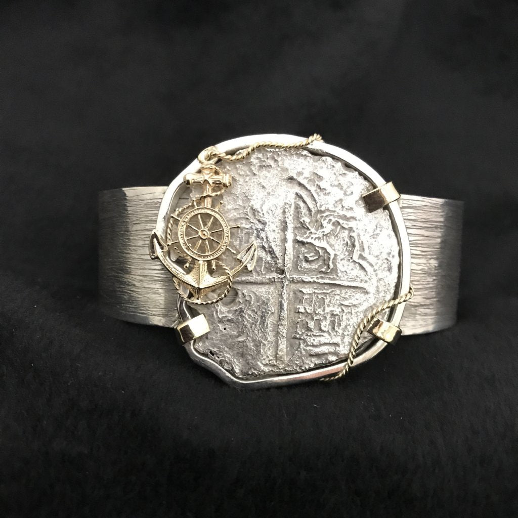 Authentic  Atocha  Silver Coin, Grade 3, 8 Reales, Mounted in 14K/SS