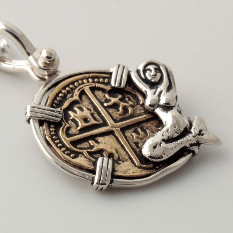 Atocha Re-creation Coin Pendant 1 Reale Double Prong in Sterling Silver