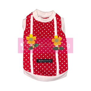Red Spotty Shirt with Yellow Flowers