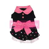 Pink and Black Dress with Bow and Frills