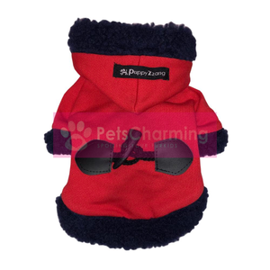 Red and Navy Fluffy Hoodie
