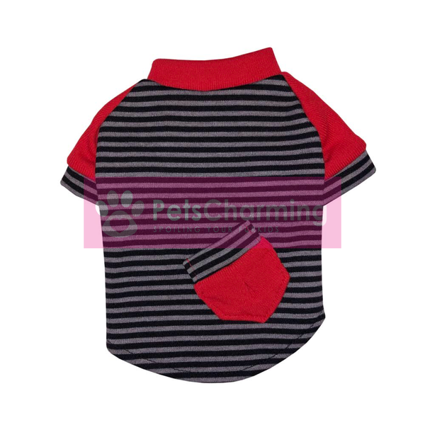 Black, Grey and Red Striped Shirt