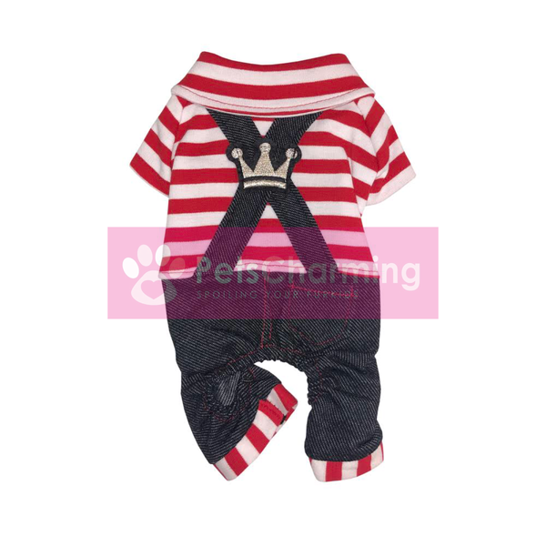 Red Striped Denim Onesie