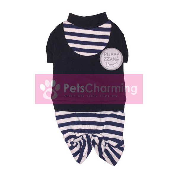 Navy and White Striped Onesie
