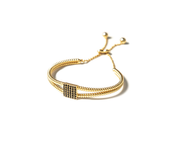 ZARUX 20k gold vermeil bracelet with black onyx