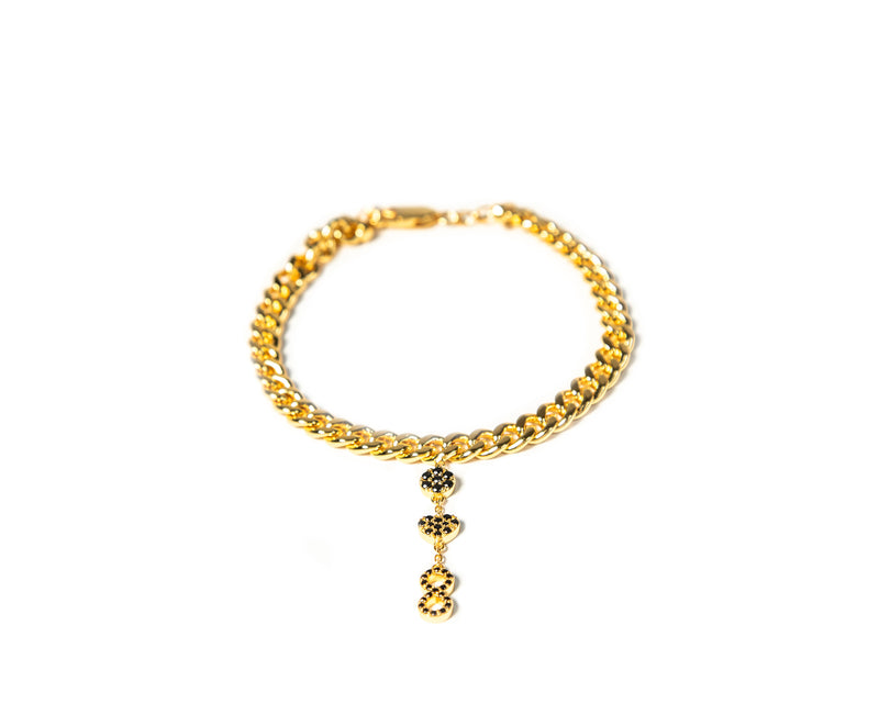 ZARUX- 20k gold vermeil Anklet with black onyx