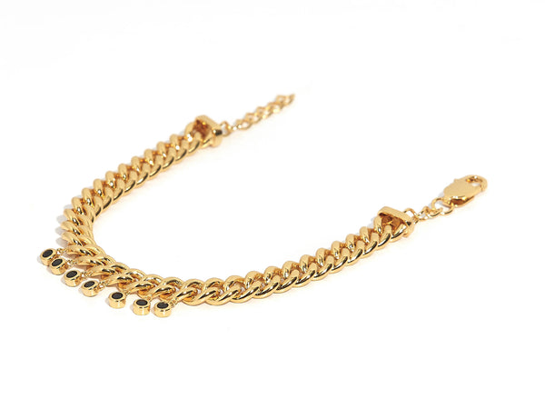 ZARUX- 20k Yellow gold vermeil bracelet with black onyx