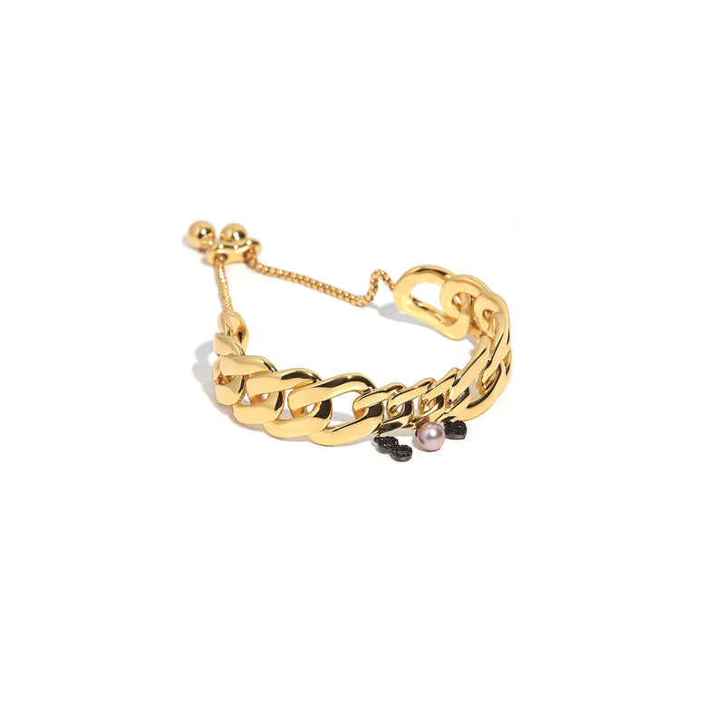 ZARUX - 20k Yellow Gold Vermeil Anklet with Black Onyx