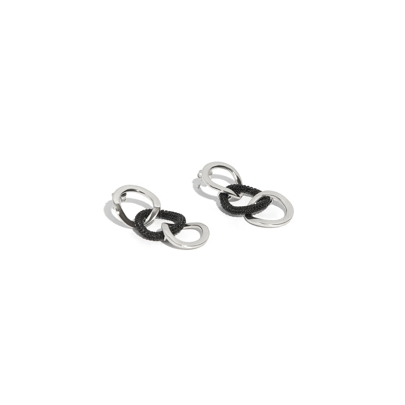 ZARUX - 18k White Gold Vermeil Drop Earrings with Black Onyx