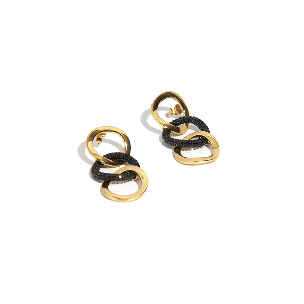ZARUX - 20k Yellow Gold Vermeil Drop Earrings with Black Onyx