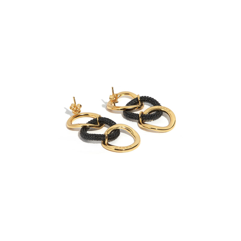 Three Hoops Earrings with Black Onyx