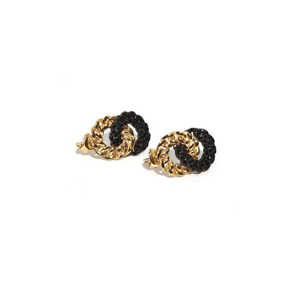 Twin Circle Black Onyx Earrings
