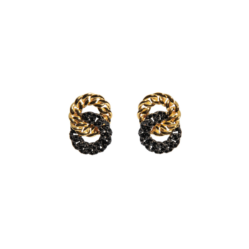 ZARUX - 20k Yellow Gold Vermeil Earrings with Black Onyx