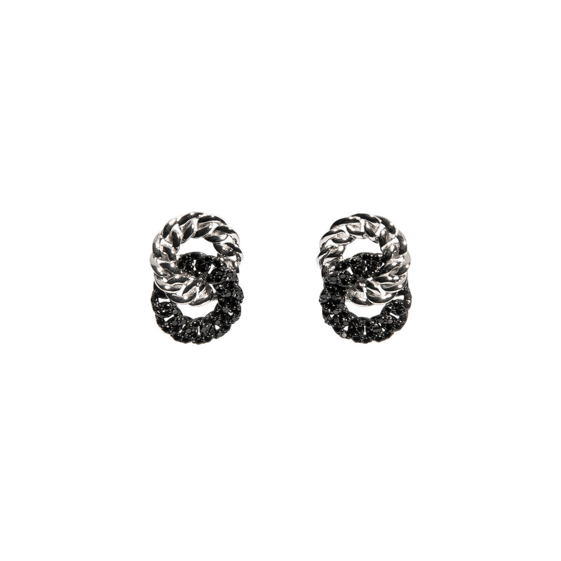 ZARUX -18k White Gold Vermeil Earrings with Black Onyx