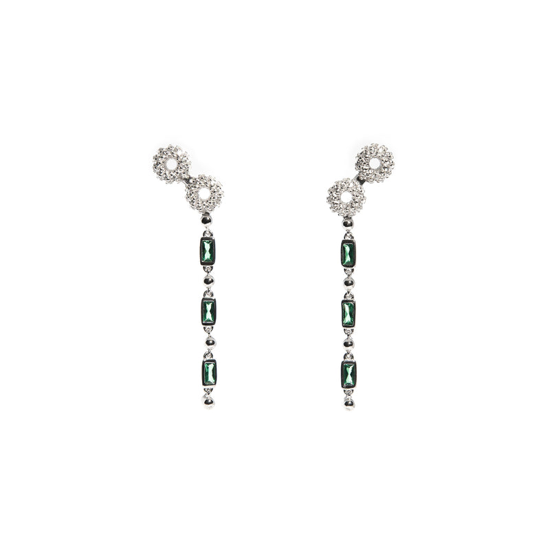 ZARUX - Green Onyx White Gold Vermeil Earrings