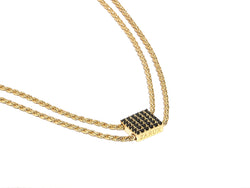 ZARUX - 20k Yellow Gold Vermeil Necklace with Black Onyx