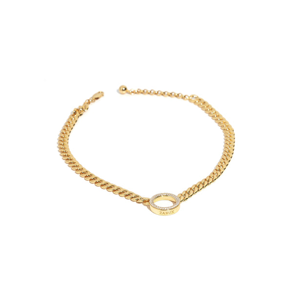 ZARUX - 20k Yellow Gold Vermeil Choker with Cubic Zirconia
