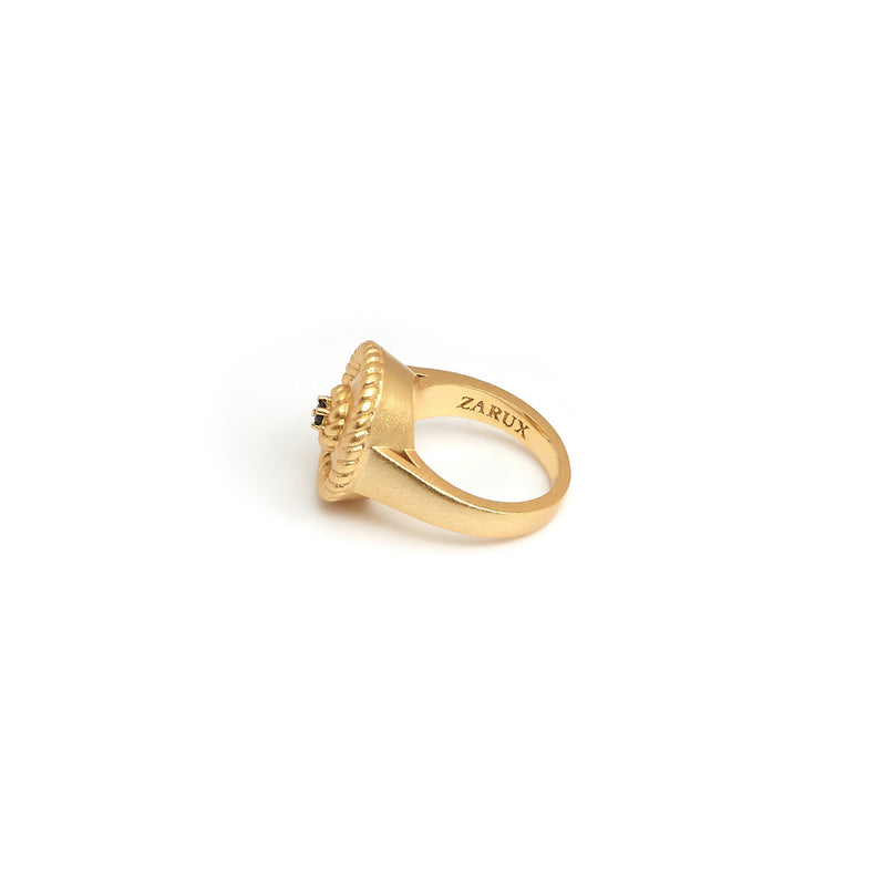 ZARUX - 20k Yellow Gold Vermeil Ring with Black Onyx