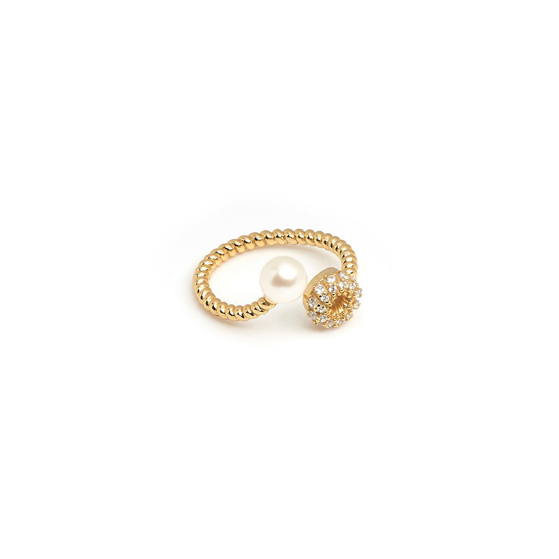 ZARUX - 20k Yellow Gold Vermeil Ring with Pearl