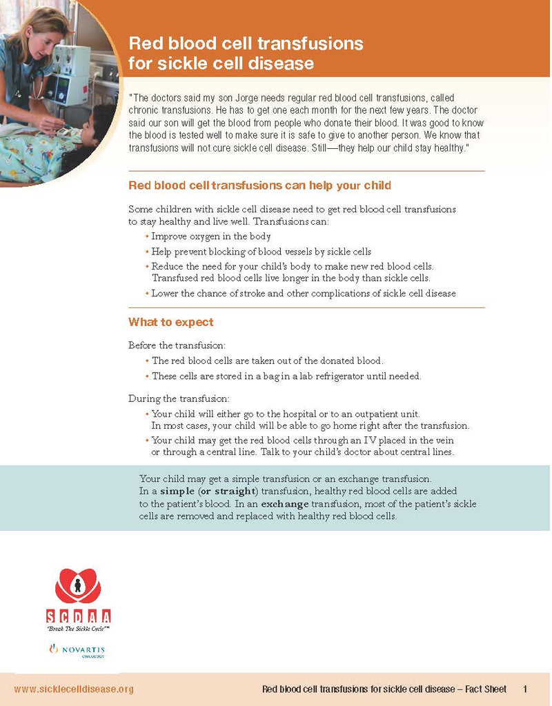 Red Blood Cell Transfusions for Sickle Cell Disease - Fact Sheet