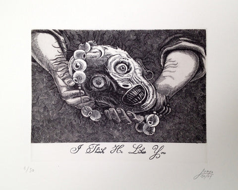 I Think He Likes You print by Maya Pixelskaya