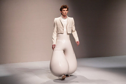 Male Model Wearing Designer Harikrishnan Inflatable Latex Trousers
