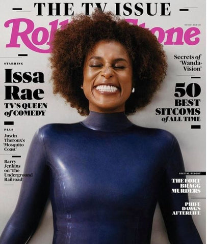 Actress Issa Rae smiling wearing the long sleeved Vex Blair Bodysuit in navy on the cover of Rolling Stones