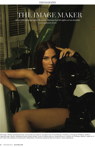 Shelby Stang wearing black Vex Cropped Gloves and latex dress sitting in a bathtub on the cover of Maxim