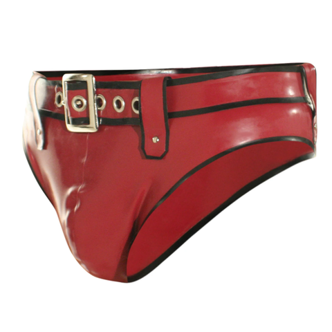 Red latex brief with buckle