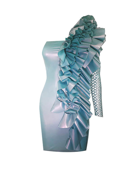 Vex Latex Flutter Dress In Ice Blue