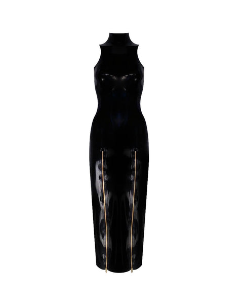 Vex Latex Hobble Gown In Black