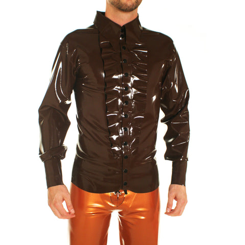 latex rubber mens smoking dress shirt