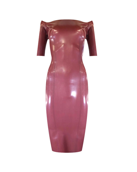 Vex Latex Katy Dress In Plum Red