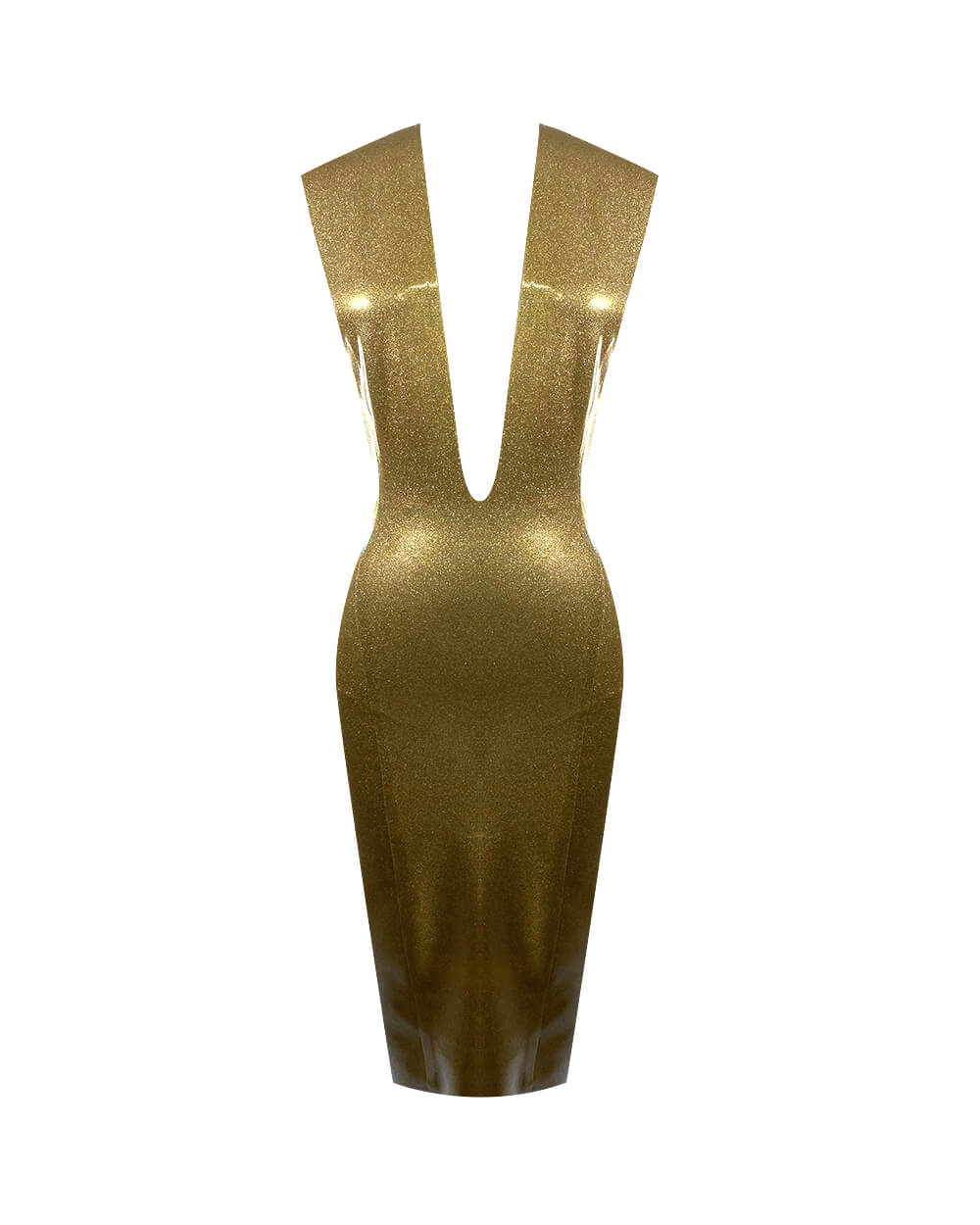 Vex Latex Print Plunge Dress In Gold