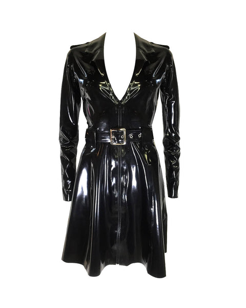 Vex Latex Trench Dress In Black
