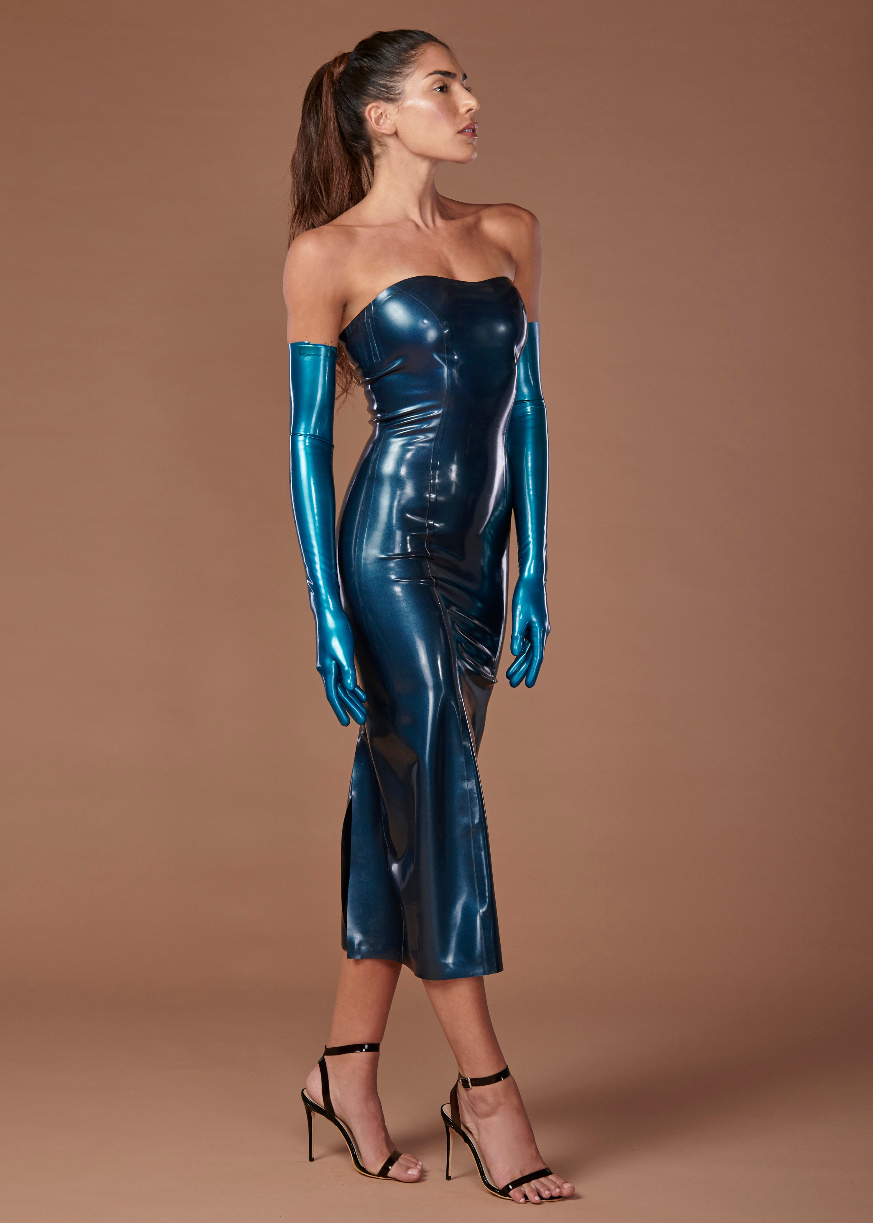Latex fashion gloves-1538