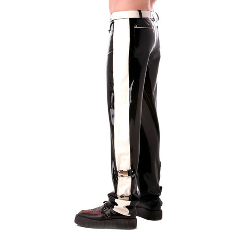 Latex rubber mens jeans with buckles